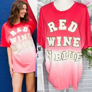 Judith March NEW Red Wine N Blue T Shirt Dress